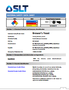 MATERIAL SAFETY DATA SHEET - Brewer's Yeast